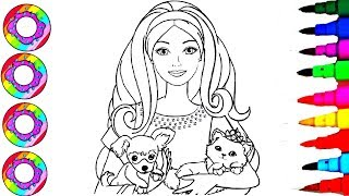 Coloring Drawings Disney's Barbie Girl Rainbow Sparkle Dress Coloring Sheet Pages l How to Color