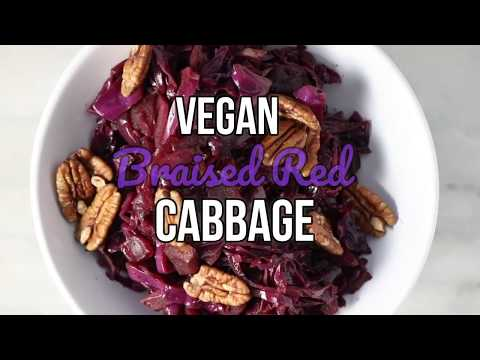 Vegan Braised Red Cabbage with apples and toasted pecans