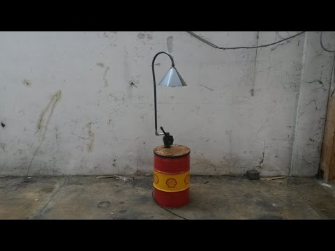 Side Table with Lamp from Oil Drum