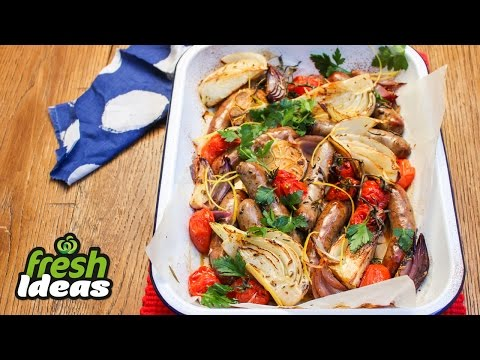 Italian-style Sausages with Caramelised Fennel, Onion & Baby Romas | Woolworths