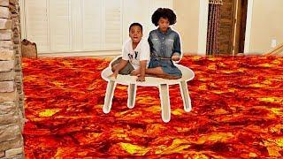 THE FLOOR IS LAVA PT 2! - Hidden Fidget Spinner! - Shasha and Shiloh Onyx Kids