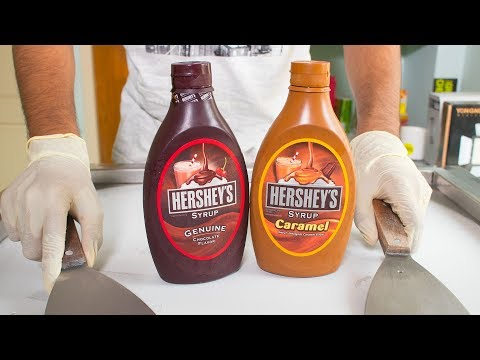 Two HERSHEYS Syrup MIX ICE CREAM ROLLS - SATISFYING ASMR VIDEO