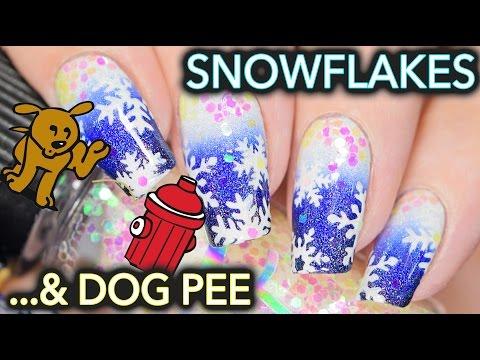 A dog peed on my Snowflake nail art
