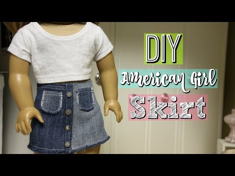 DIY CLOTHES | How to Sew an American Girl Doll Jean Skirt!