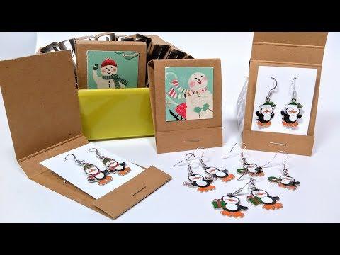 CUTE! Penguin Earring Tutorial in DIY Matchbook Gift Packaging