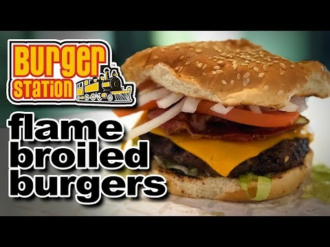 Burger Station 🔥 🍔  Flamed Broiled Union Burger and Onion Rings