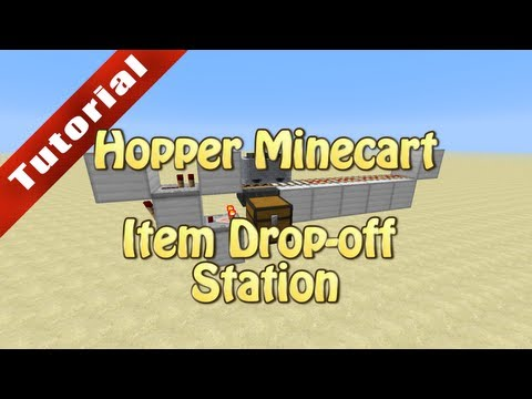 Minecraft Tutorial: Hopper Minecart Item Drop-off Station