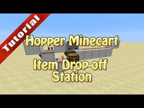 Minecraft Tutorial: Hopper Minecart Item Drop-off Station