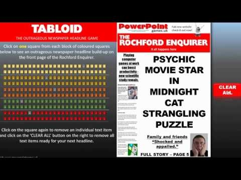 TABLOID - The outrageous newspaper headline game made on PowerPoint - Free to download (and funny)