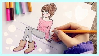 ❤ Drawing Tutorial - How To Draw A Girl With Uggs ❤