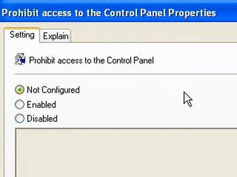 how to enable or disable access to your control panel