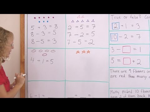 Two subtractions from one addition - 1st grade math lesson