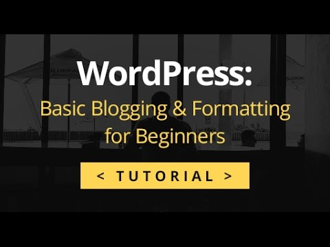 WordPress Tutorial - Basic Blogging & Formatting for Beginners