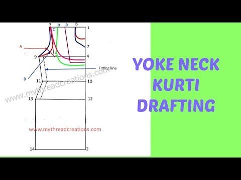 Easy Method of Yoke Neckline Kurti / Tunic Drafting