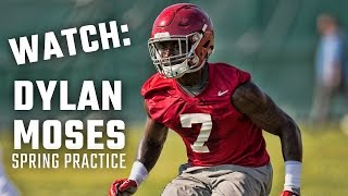 Alabama freshman linebacker Dylan Moses at second day of spring practice