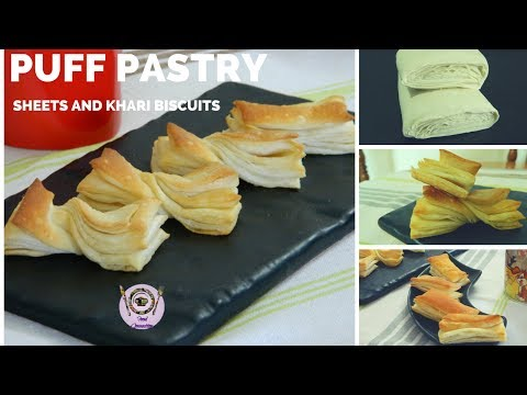 Homemade Puff Pastry Sheets | Puff Pastry Recipe | Puff Pastry Biscuits | Khari Biscuits