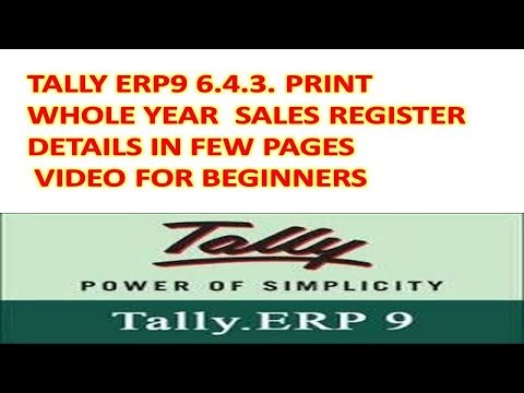 Tally Erp9 6.4.3 - Export And Print Sales Register In Proper Way