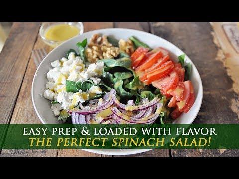 Spinach & Goat Cheese Salad with Homemade Honey Mustard Vinaigrette