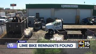 Remnants of Lime rental sharing bikes found in Tempe