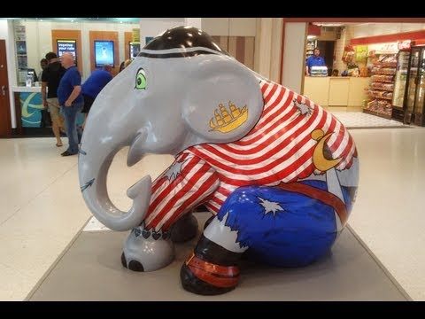 Painted elephants come to town