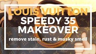 ♡Preloved Speedy 35 Makeover♡   Cleaning Vachetta, Brass, Getting Rid of Musky Smell   Cherry Tung