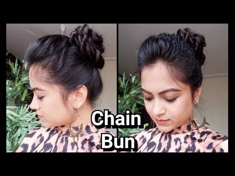 Chain Bun with puff// hairstyles for medium to long hair for school/college/work