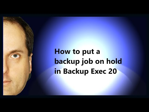 How to put a backup job on hold in Backup Exec 20