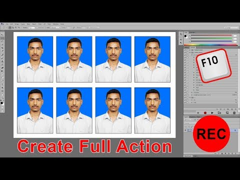 One click Automatic Passport Size Photo in Photoshop 7.0, all versions | create a shortcut Action