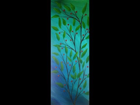 Acrylic Painting Leafy Branch and Berries