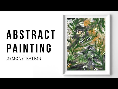 Abstract Art Acrylic Painting Demonstration | Paint with Me Green Acrylics Demo by Fluffy Hedgehog