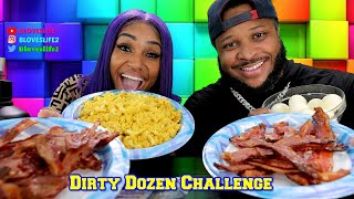 Dirty Dozen Breakfast Challenge: By PR Gang and Bloveslife 12 Eggs, 12 Bacon, 12 minutes