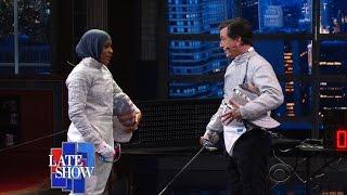 Late Show Fencing Challenge: Stephen vs. Ibtihaj Muhammad