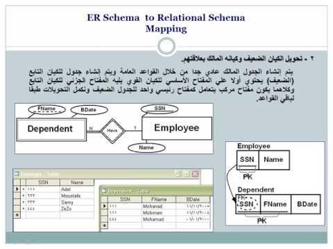2 DB II   ER Schema  to Relational Schema Mapping تحويل  ER ألى Relational
