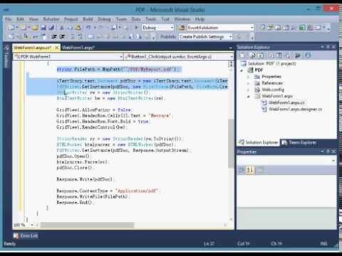 visual studio 2010 c# export grid view to pdf using itextsharp