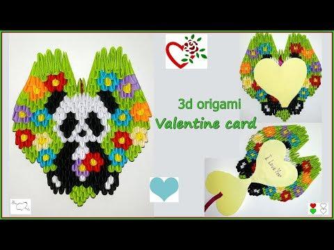 DIY.How to make Valentine's card. 3d origami panda.