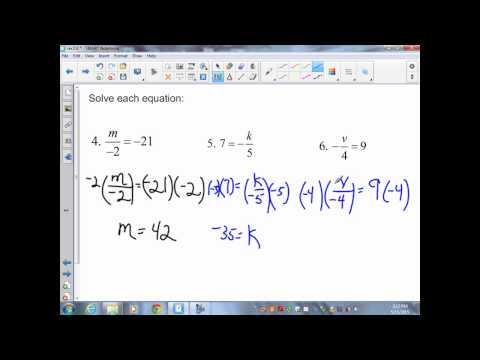 sec2 6 Pre Algebra Solving Equations by Multiplying or Dividing