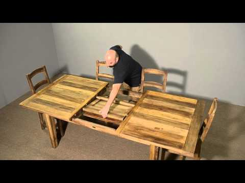 Reclaimed wood farm table with self storing butterfly leaf