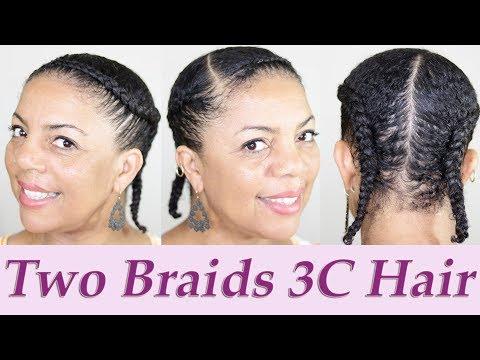 Two Sleek Braids - Natural Hair Tutorial on Fine Type 3C 4A Hair #2SleekBraids