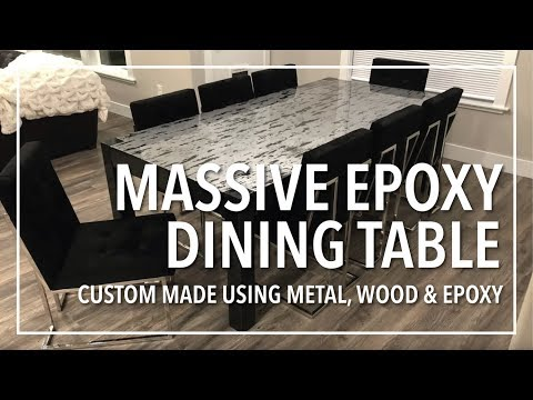 Massive Epoxy Dining Table   Custom Made from Scratch using Metal, Wood and Epoxy Resin