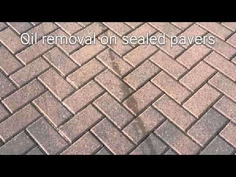 Removing oil from pavers that had been previously sealed