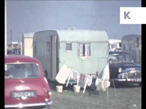 Late 1950s UK Campsite - Colour Home Movie Footage Caravans, Camping