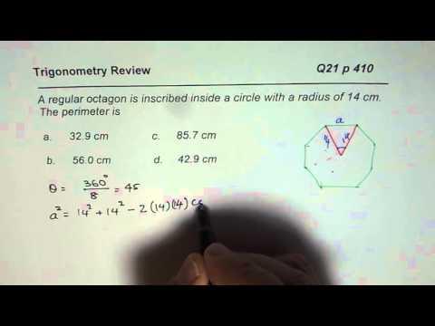 Q21 p 410 Perimeter of Octagon Inscribed in 14 Raidus Circle Nelson MCR3U