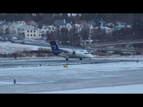 Air Iceland Connect Dash 8 Q200 take off from Reykjavik Domestic Airport