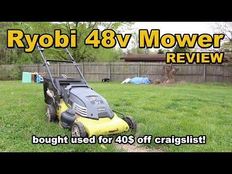 Old Ryobi 48 volt mower review BOUGHT via CRAIGSLIST $40