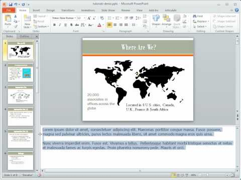 Example of text overflow in PowerPoint 2010 notes & print preview