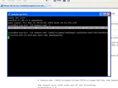 How to commit snapshots from within the VMware ESX service console