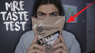 TESTING MY FIRST MILITARY MRE (MEAL READY TO EAT) | EATING MILITARY FOOD CHALLENGE! | MRE TASTE TEST