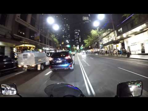 VlogBiker Riding a motorbike from City Road,  Broadway onto George St Sydney