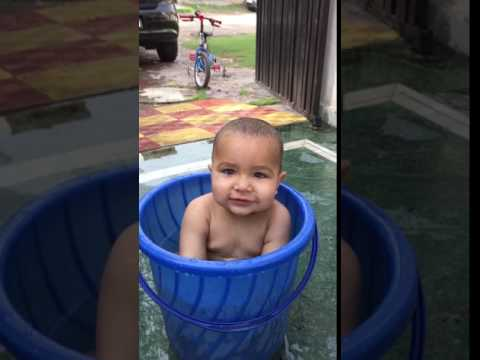 Baby bath Indian style