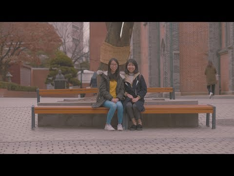 Two Chinese girls at Myeongdong Catholic Cathedral
